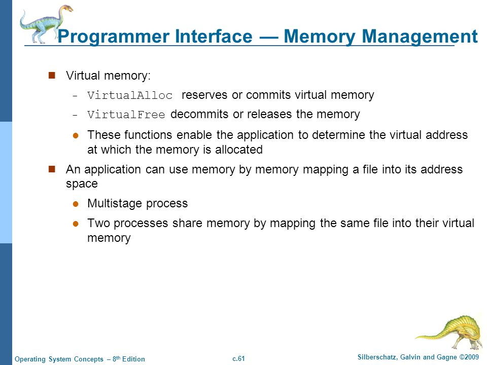 Programmer Interface — Memory Management