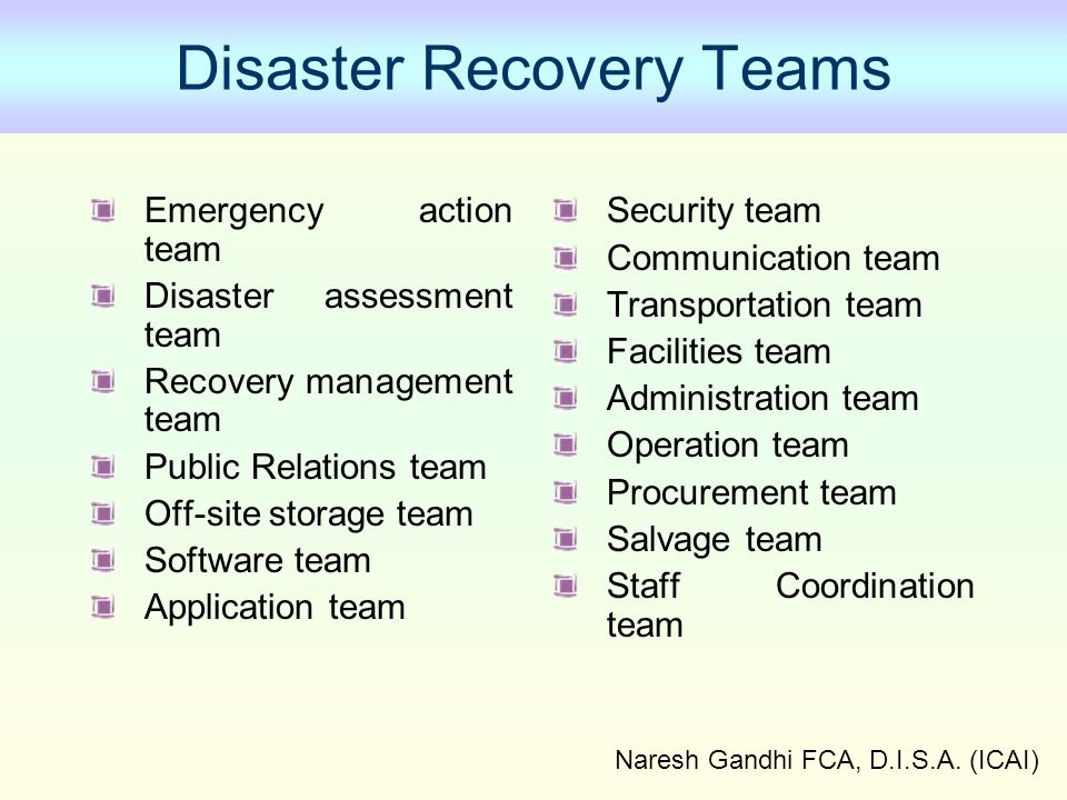 Disaster Recovery Teams