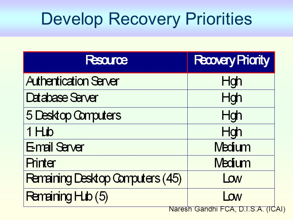Develop Recovery Priorities