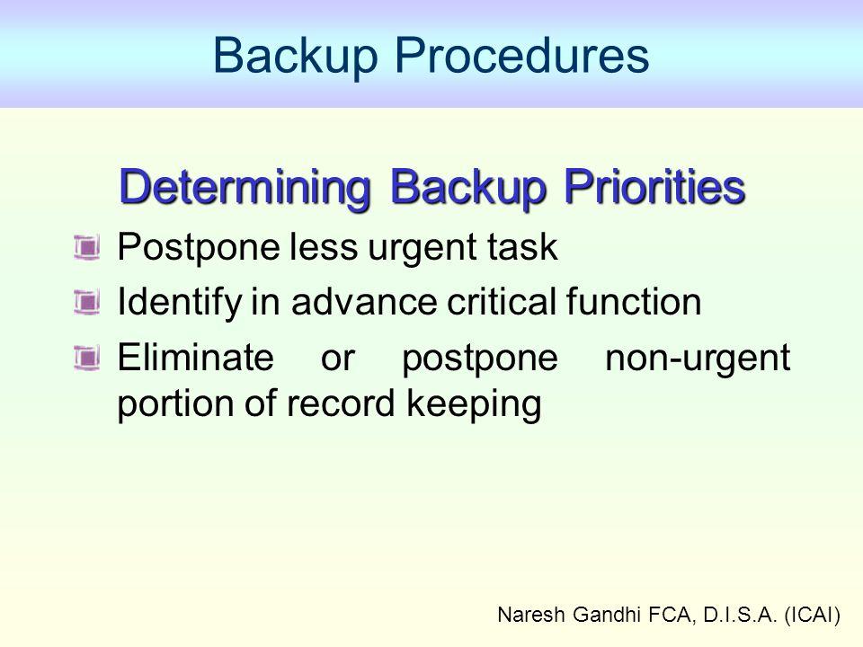Backup Procedures Determining Backup Priorities