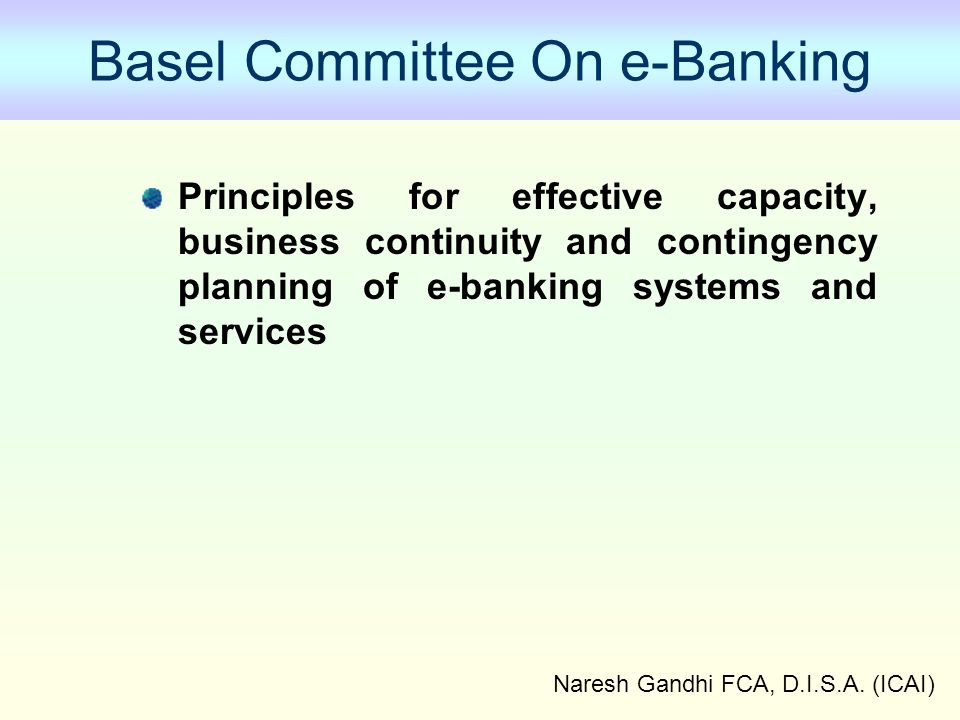 Basel Committee On e-Banking