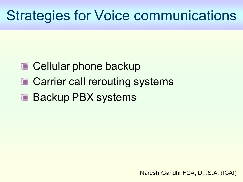 Strategies for Voice communications