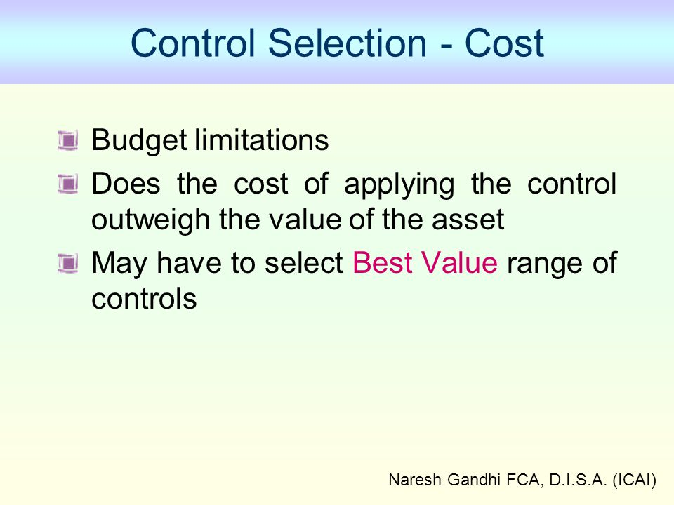 Control Selection - Cost