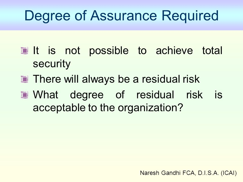 Degree of Assurance Required