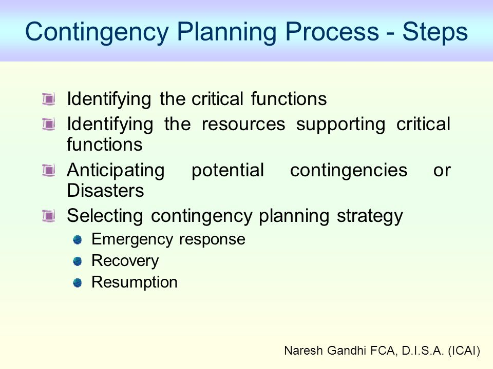 Contingency Planning Process - Steps