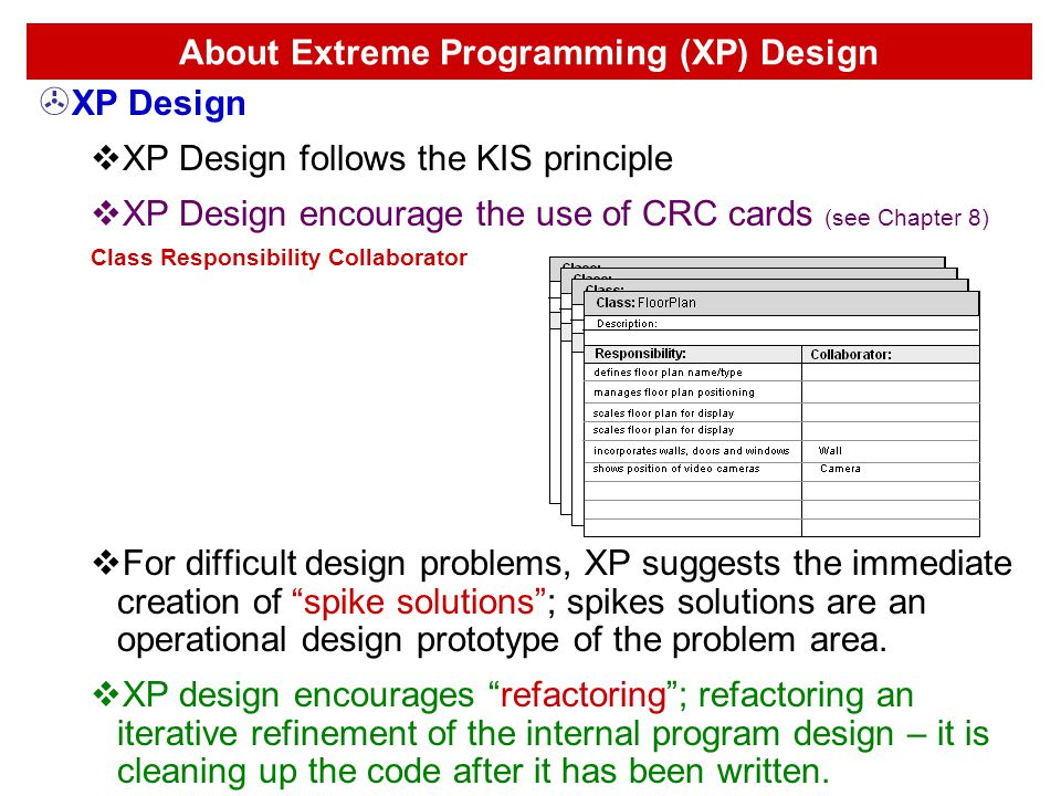 About Extreme Programming (XP) Design