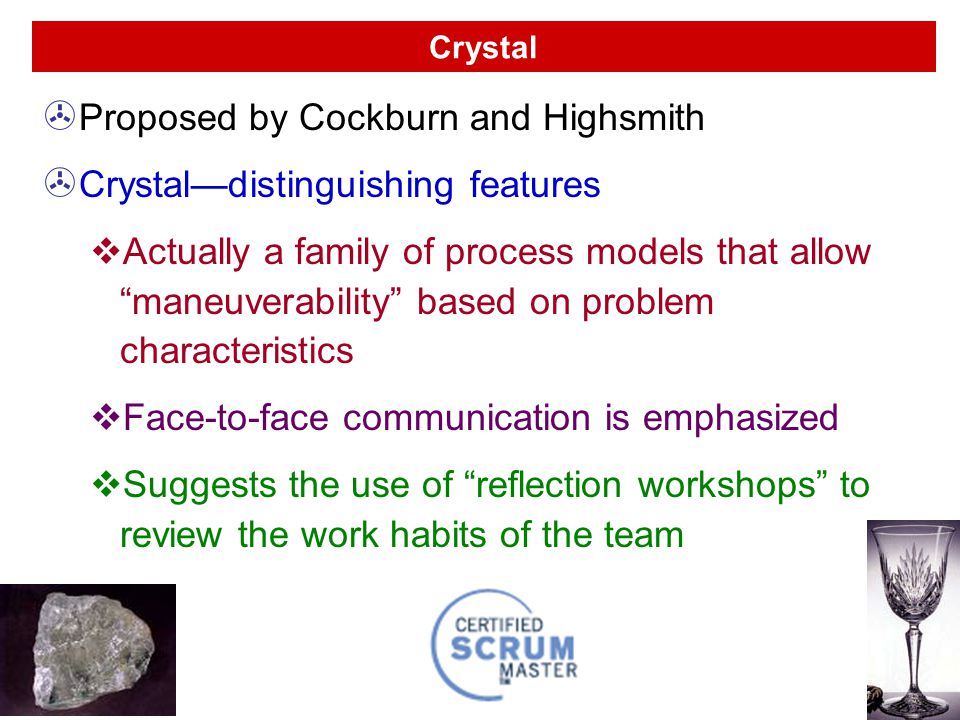 Proposed by Cockburn and Highsmith Crystal—distinguishing features
