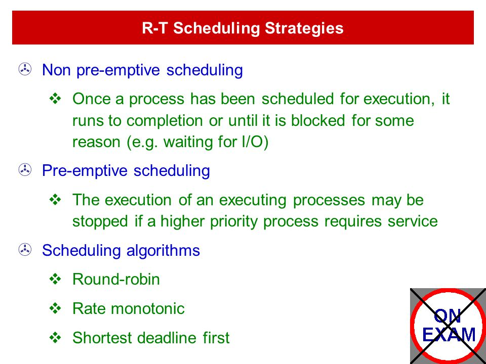 R-T Scheduling Strategies
