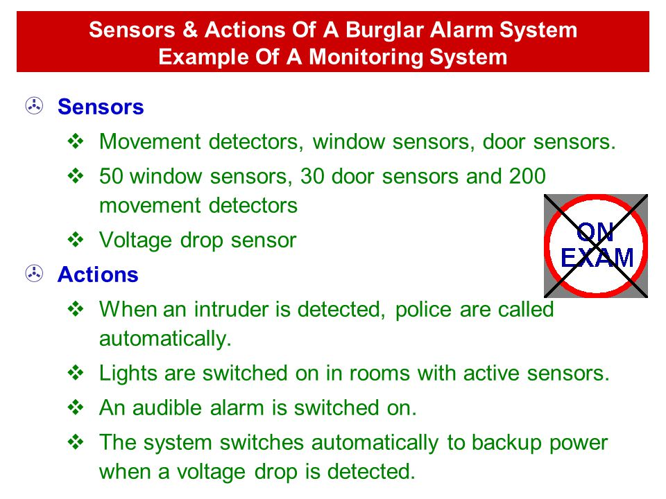 Sensors & Actions Of A Burglar Alarm System Example Of A Monitoring System