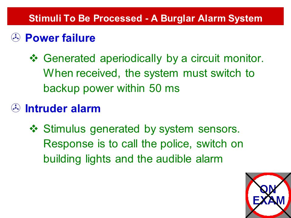 Stimuli To Be Processed - A Burglar Alarm System