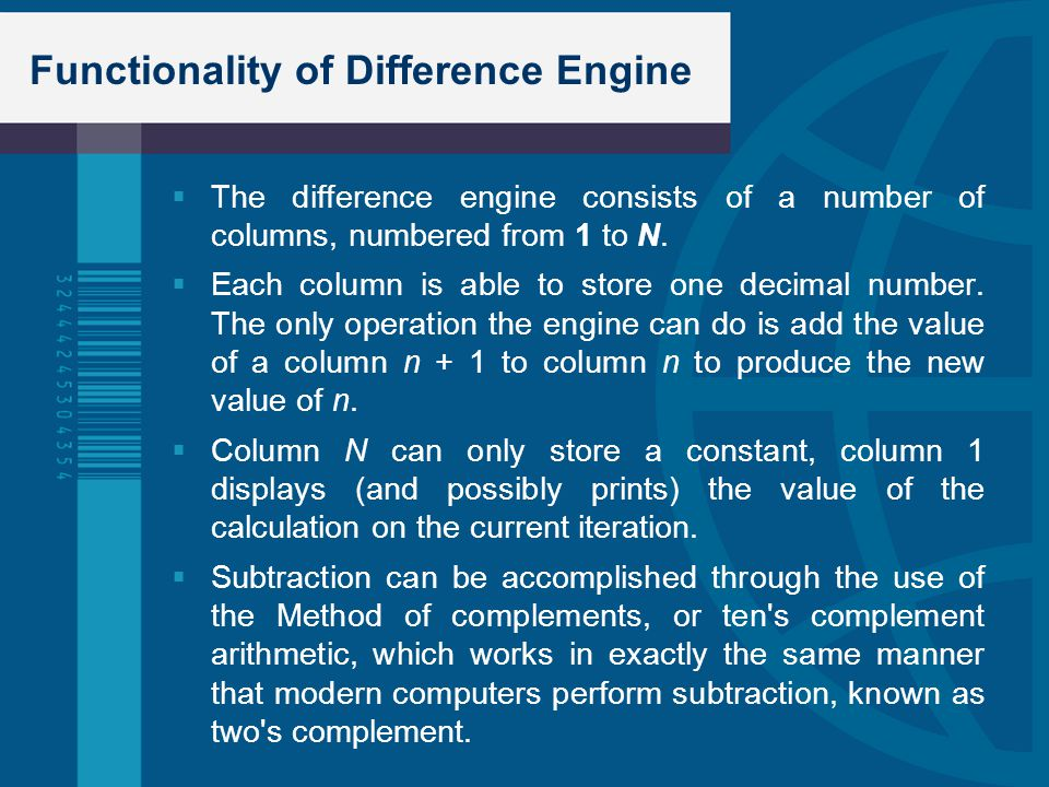 Functionality of Difference Engine