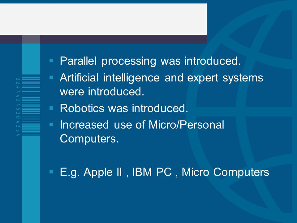 Parallel processing was introduced.