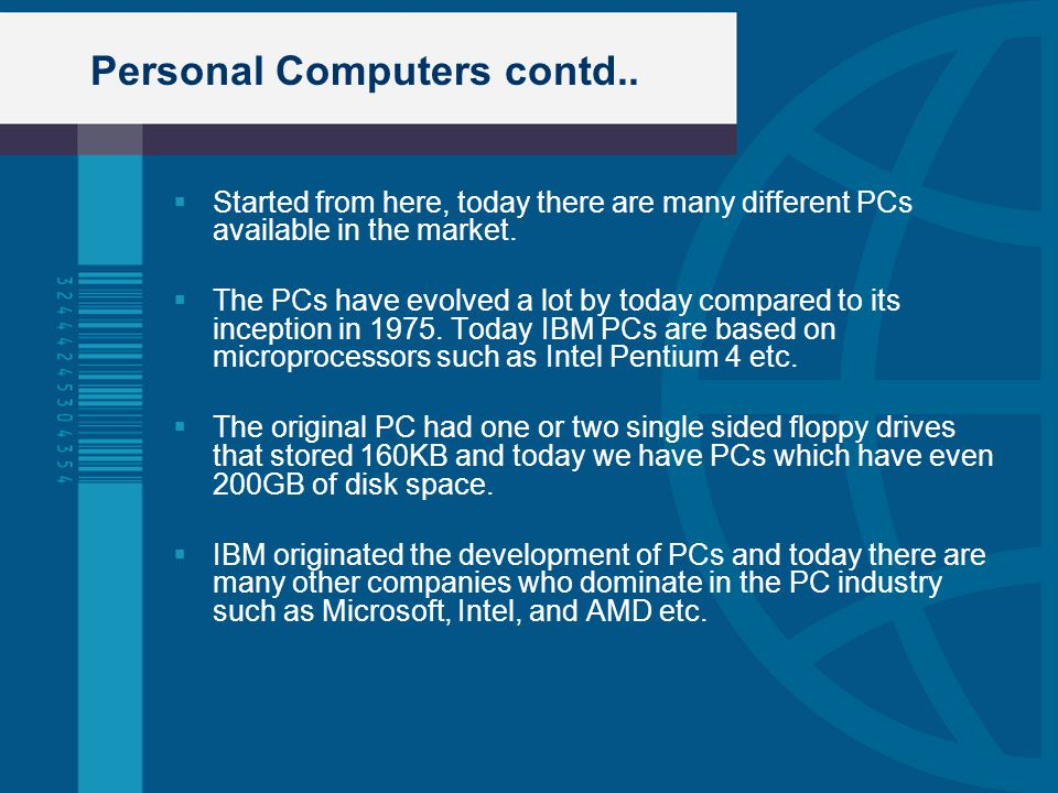 Personal Computers contd..