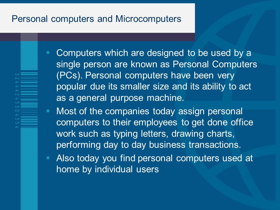 Personal computers and Microcomputers