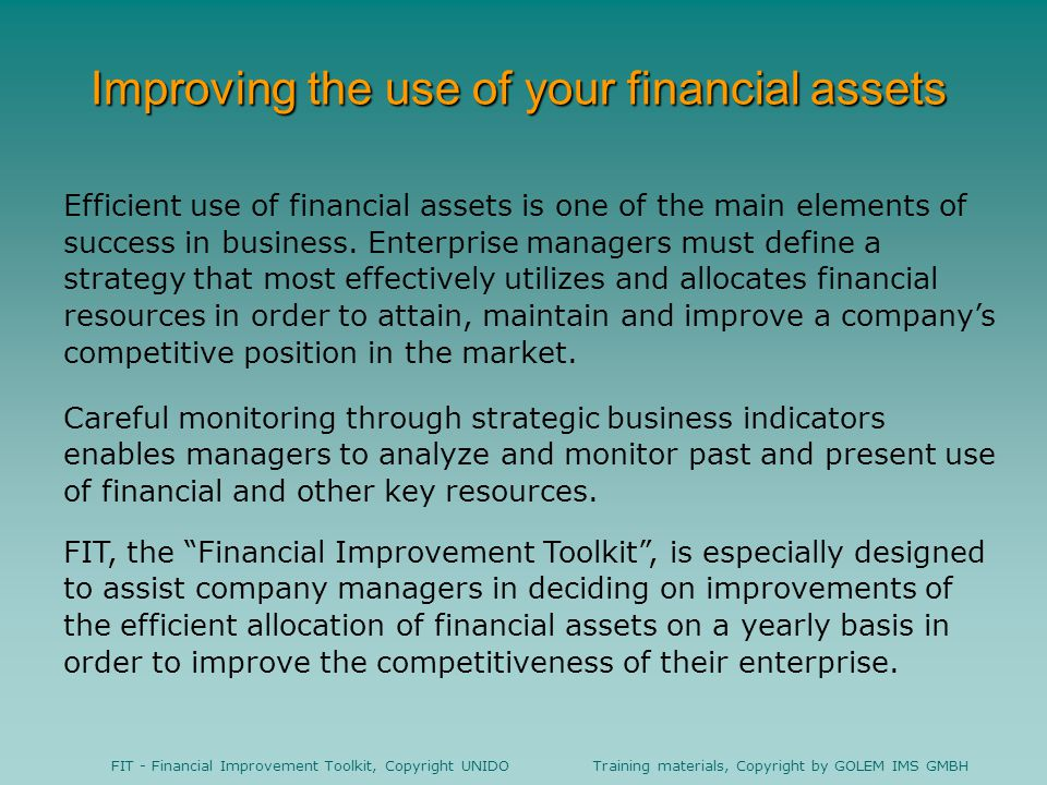 Improving the use of your financial assets