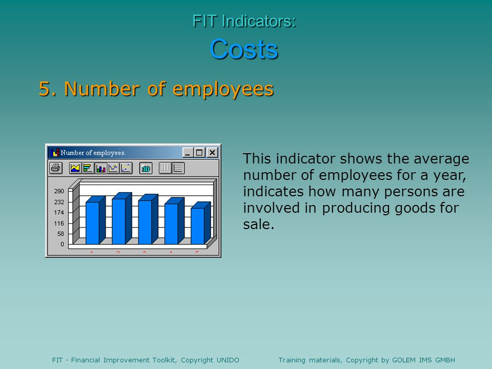 5. Number of employees FIT Indicators: Costs