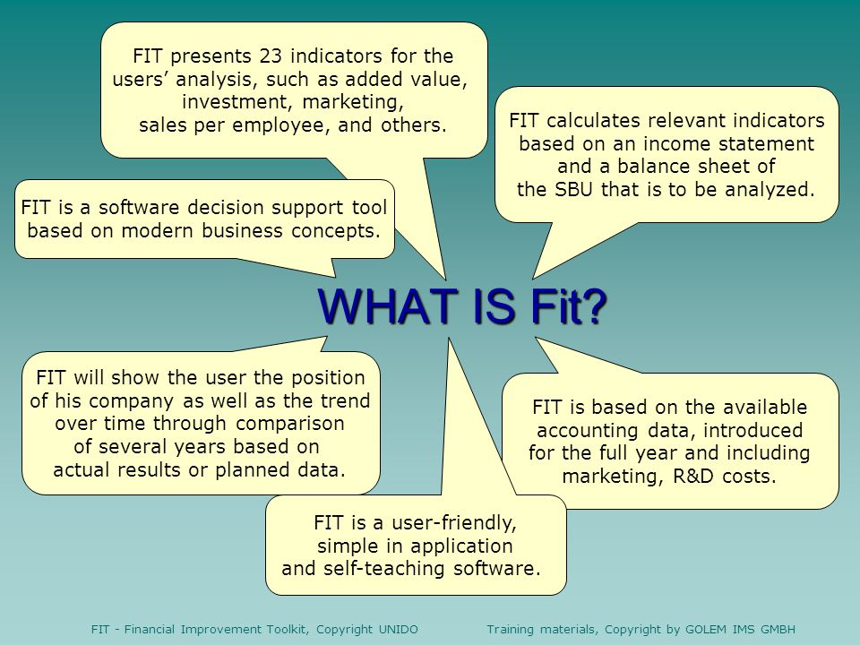 WHAT IS Fit FIT presents 23 indicators for the