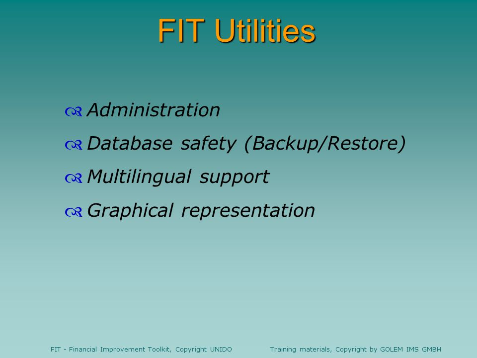 FIT Utilities Administration Database safety (Backup/Restore)