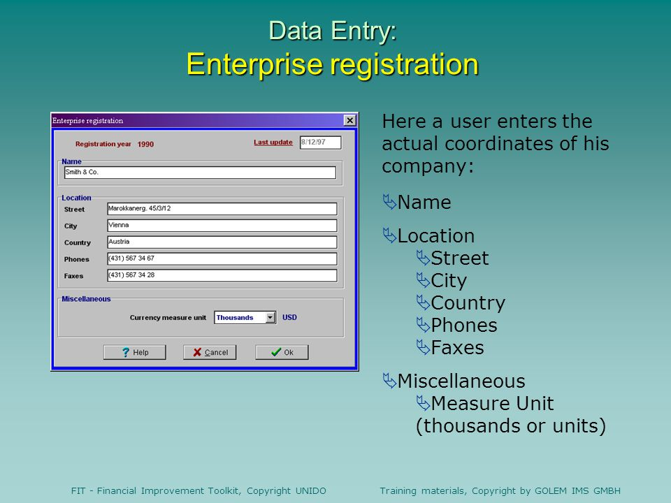 Data Entry: Enterprise registration