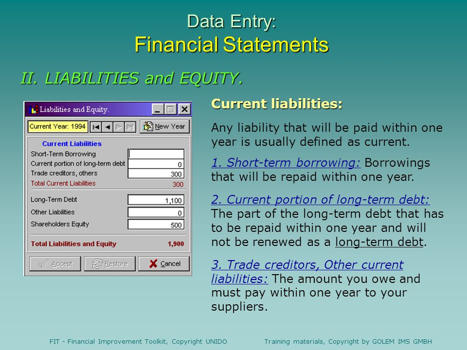 Data Entry: Financial Statements