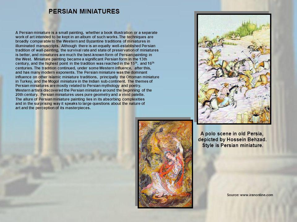 PERSIAN MINIATURES A polo scene in old Persia,