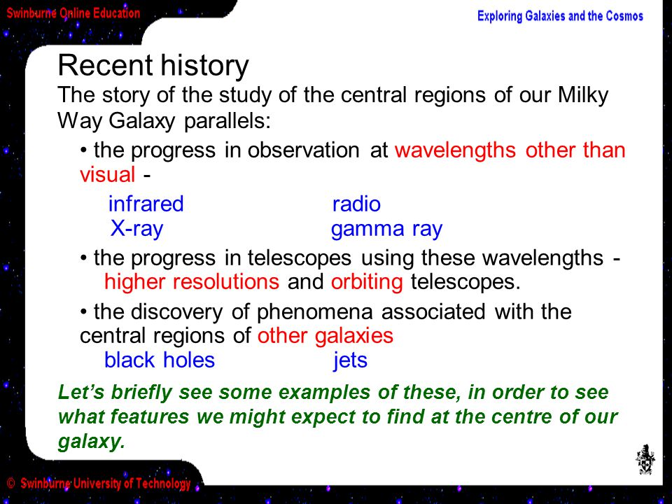 Recent history The story of the study of the central regions of our Milky Way Galaxy parallels: