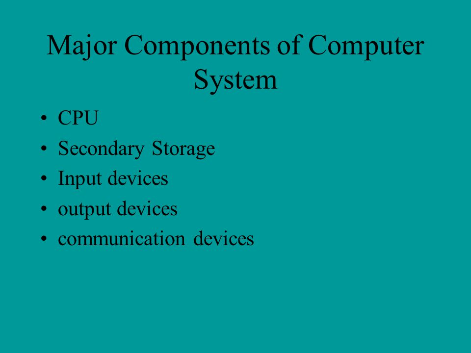 Major Components of Computer System