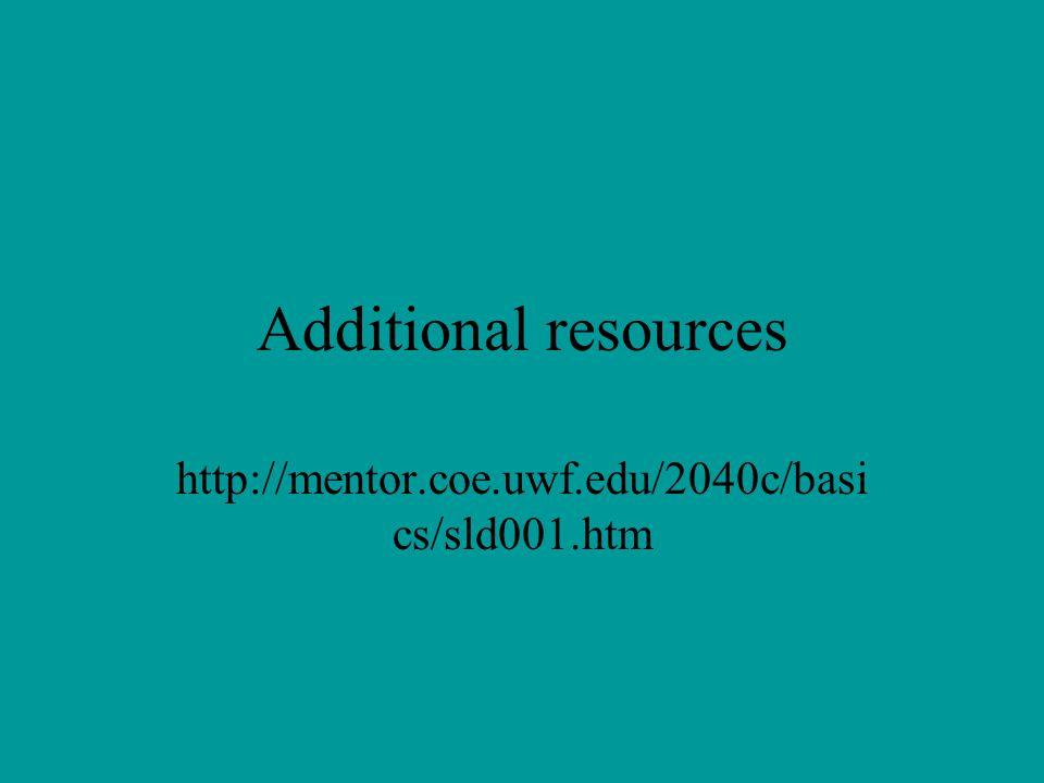 Additional resources http://mentor.coe.uwf.edu/2040c/basics/sld001.htm