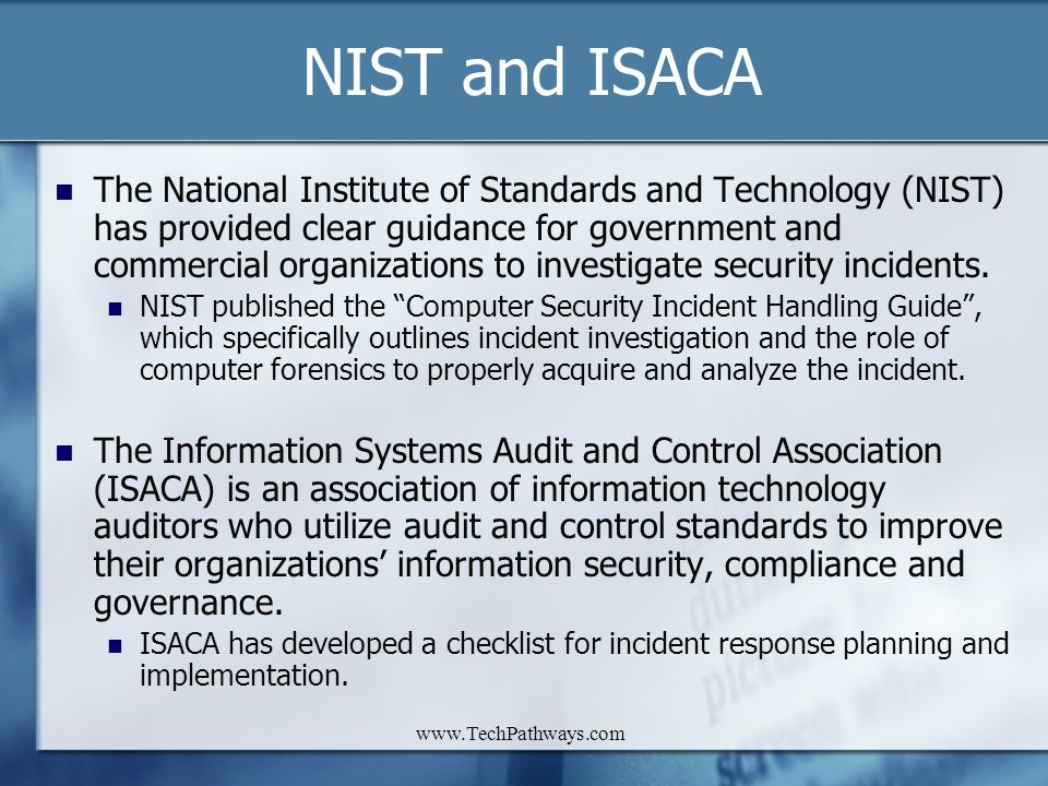 NIST and ISACA