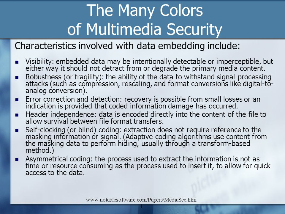 The Many Colors of Multimedia Security