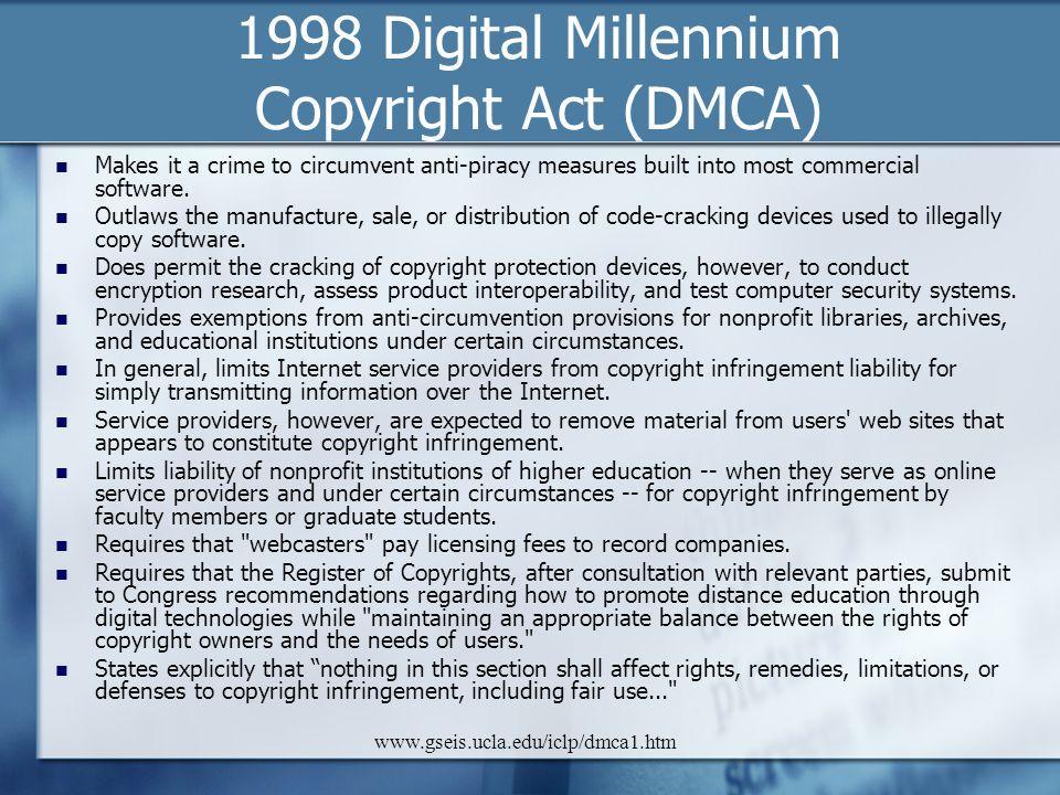 1998 Digital Millennium Copyright Act (DMCA)