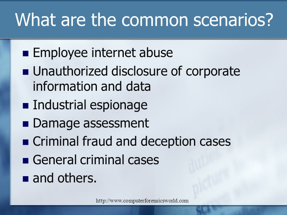 What are the common scenarios