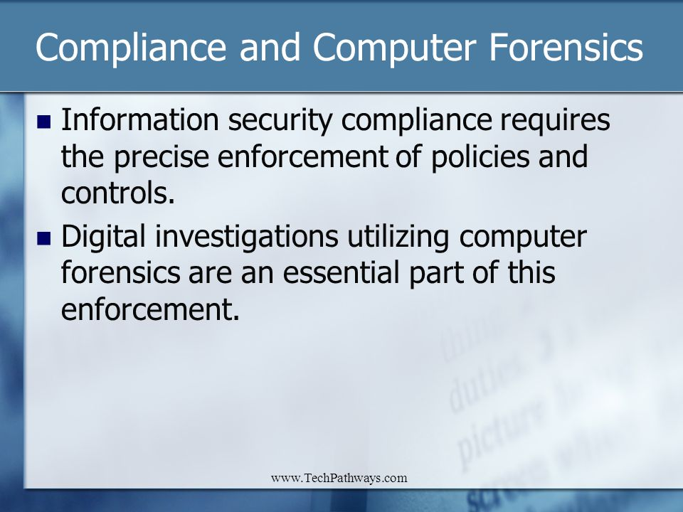 Compliance and Computer Forensics