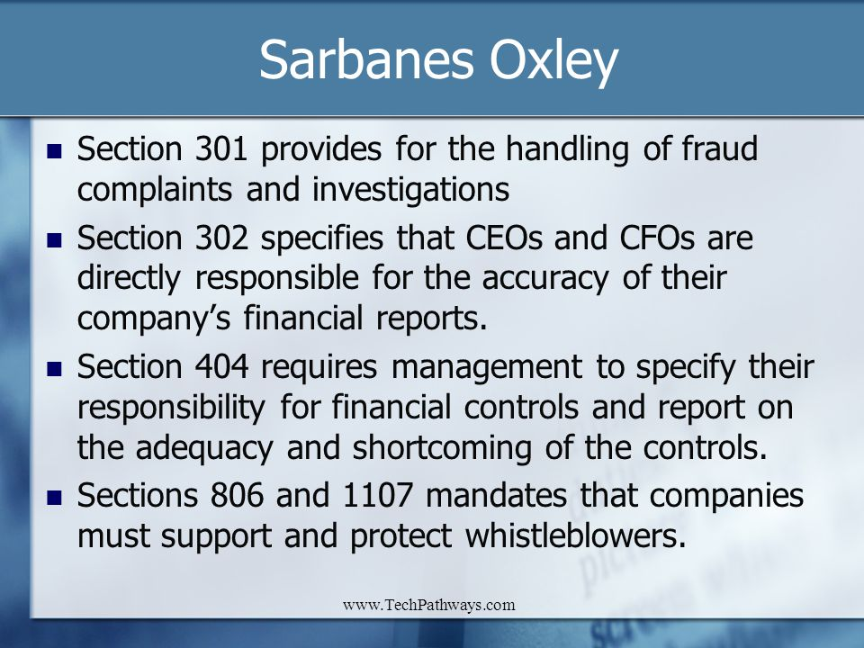 Sarbanes Oxley Section 301 provides for the handling of fraud complaints and investigations.