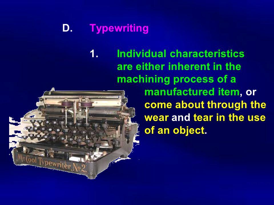 D. Typewriting. 1. Individual characteristics