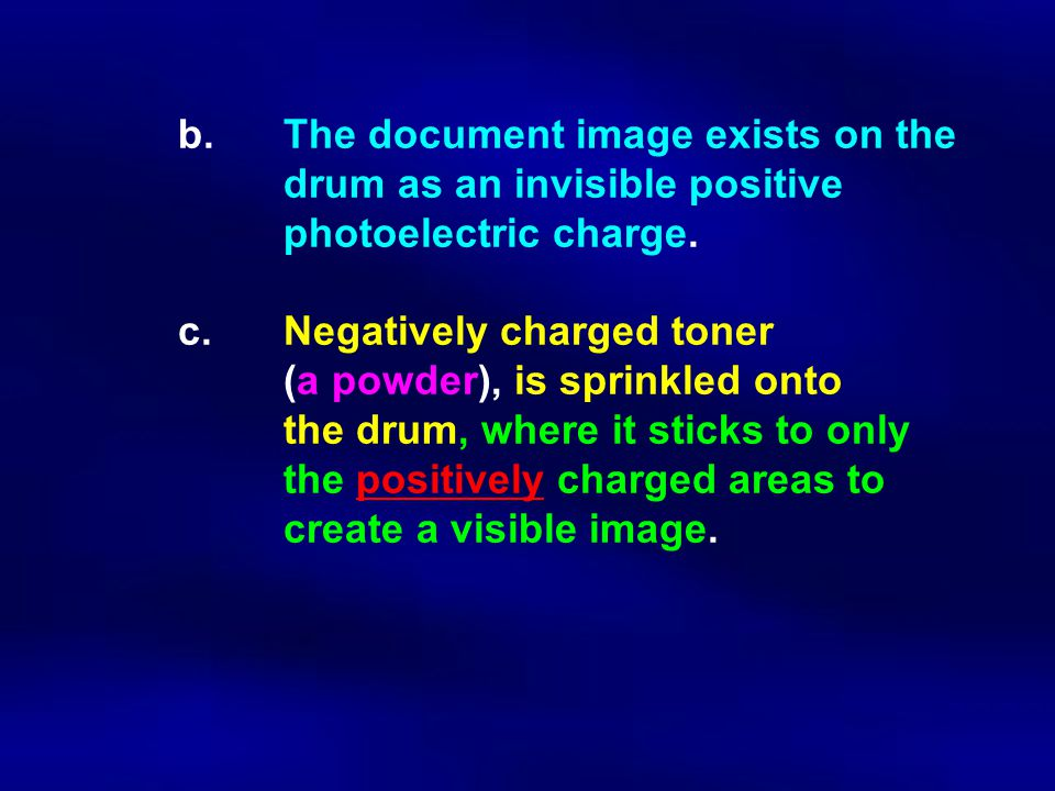 b. The document image exists on the. drum as an invisible positive