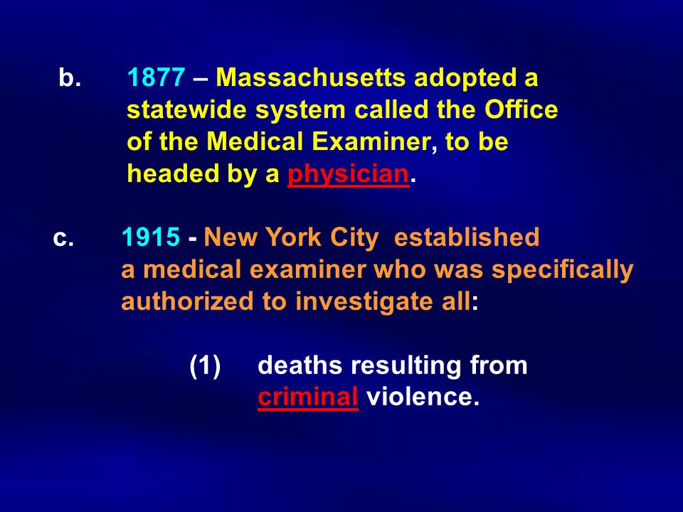 b. 1877 – Massachusetts adopted a. statewide system called the Office