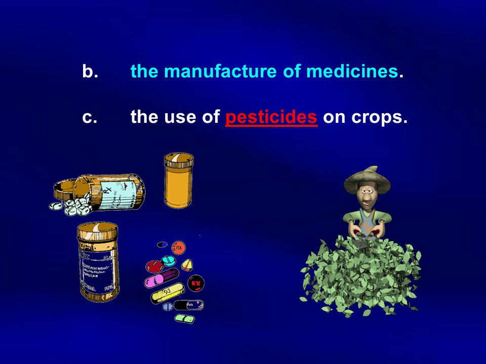 b. the manufacture of medicines. c. the use of pesticides on crops.