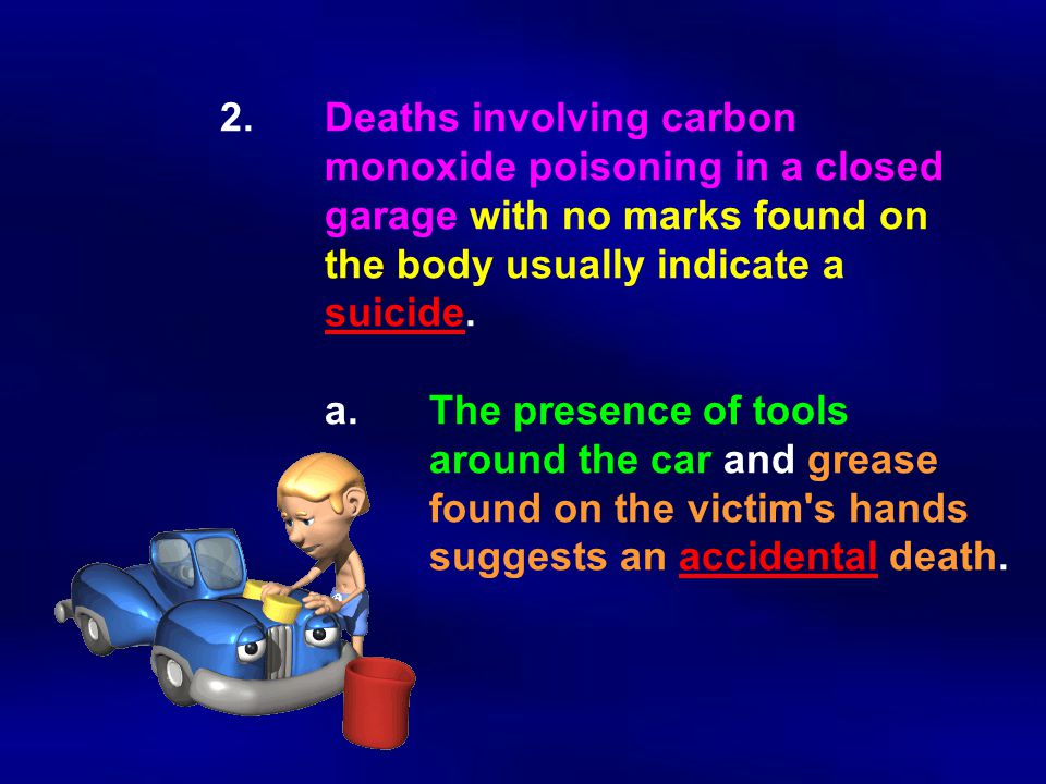 2. Deaths involving carbon. monoxide poisoning in a closed
