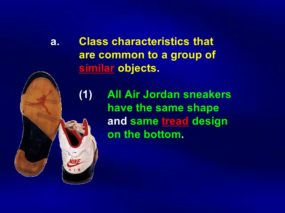 a. Class characteristics that. are common to a group of