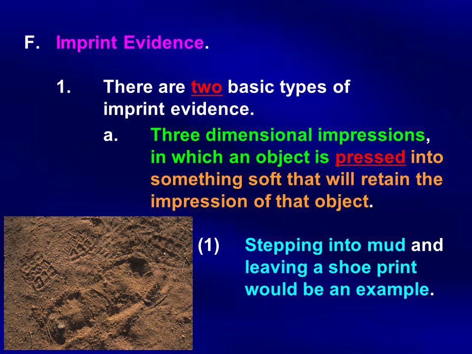 F. Imprint Evidence. 1. There are two basic types of imprint evidence.