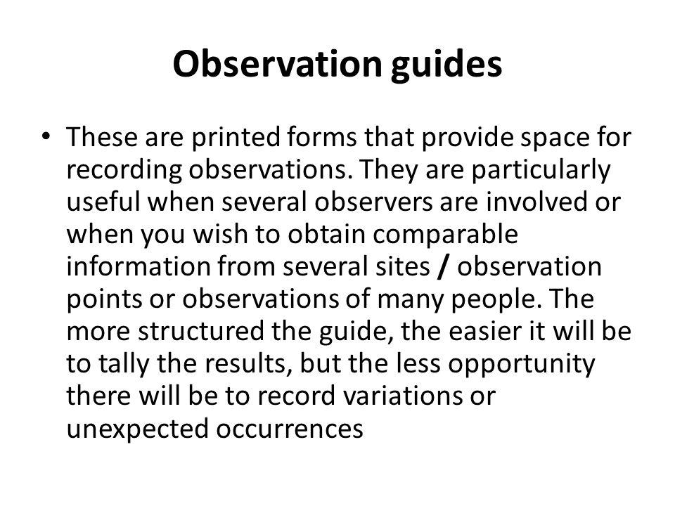 Observation guides