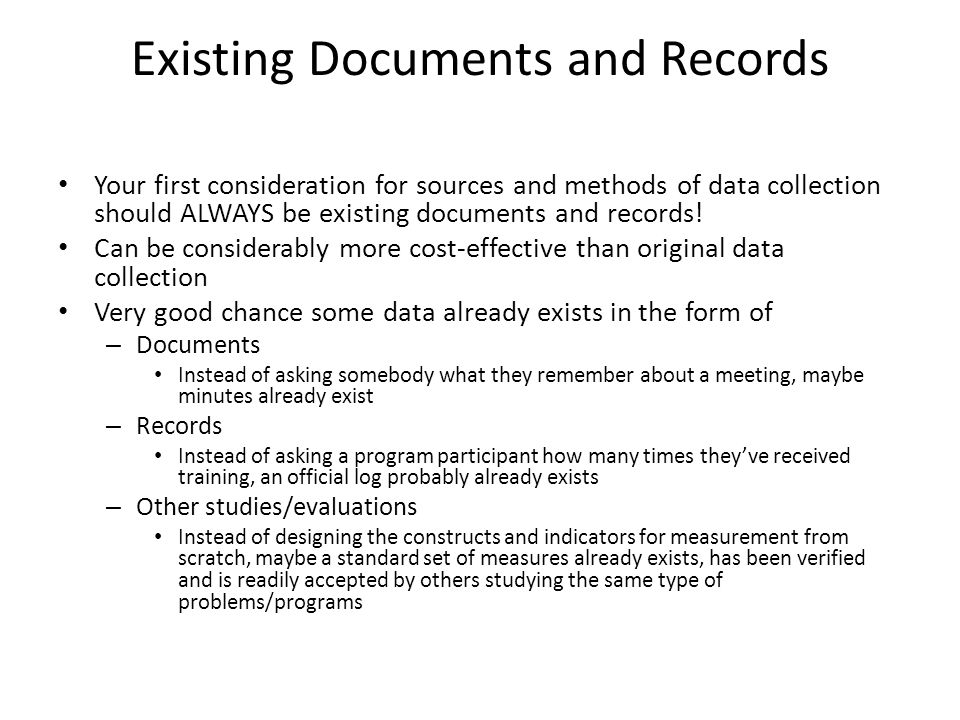 Existing Documents and Records