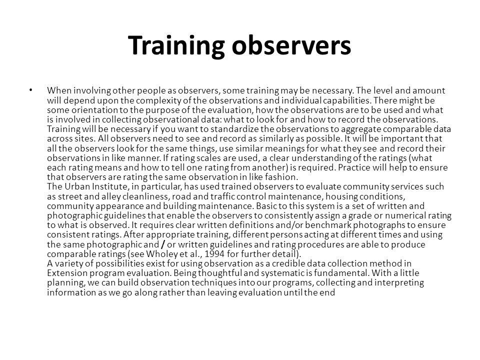 Training observers