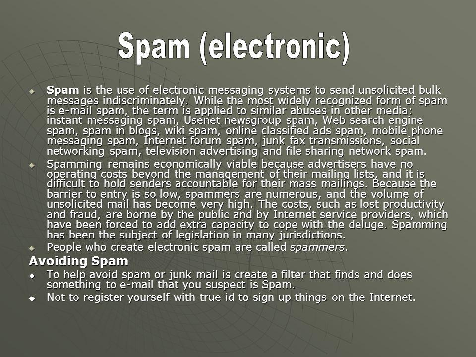 Spam (electronic) Avoiding Spam