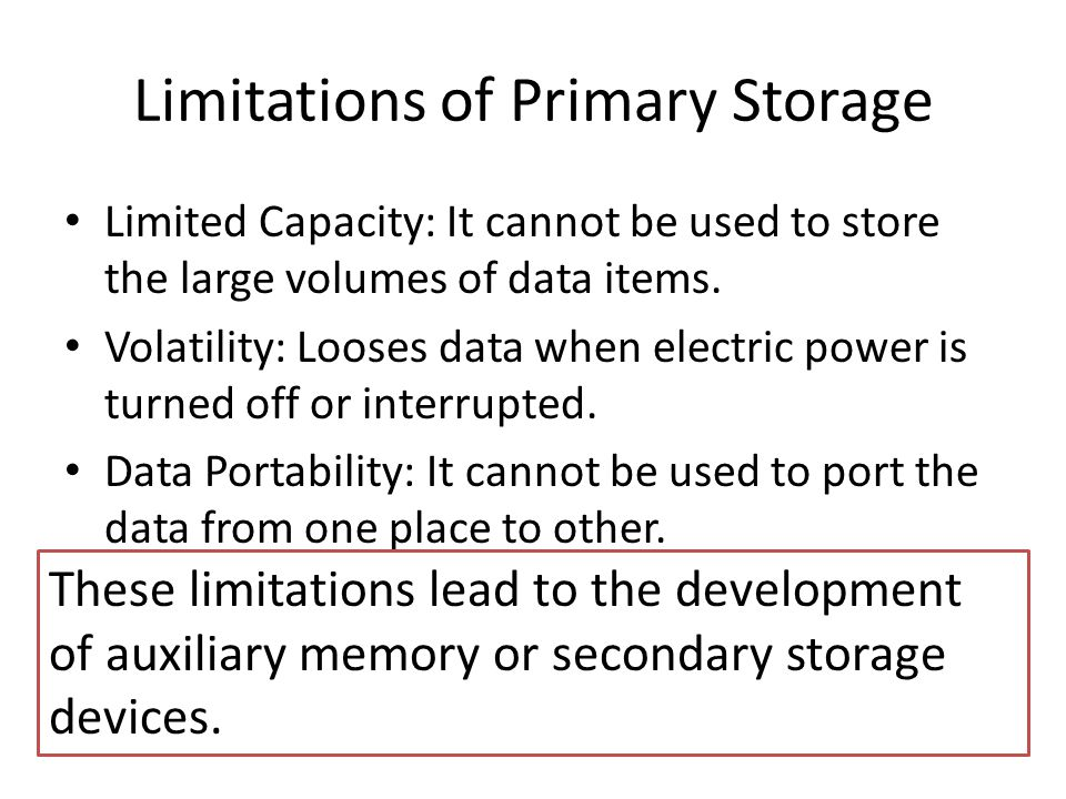 Limitations of Primary Storage