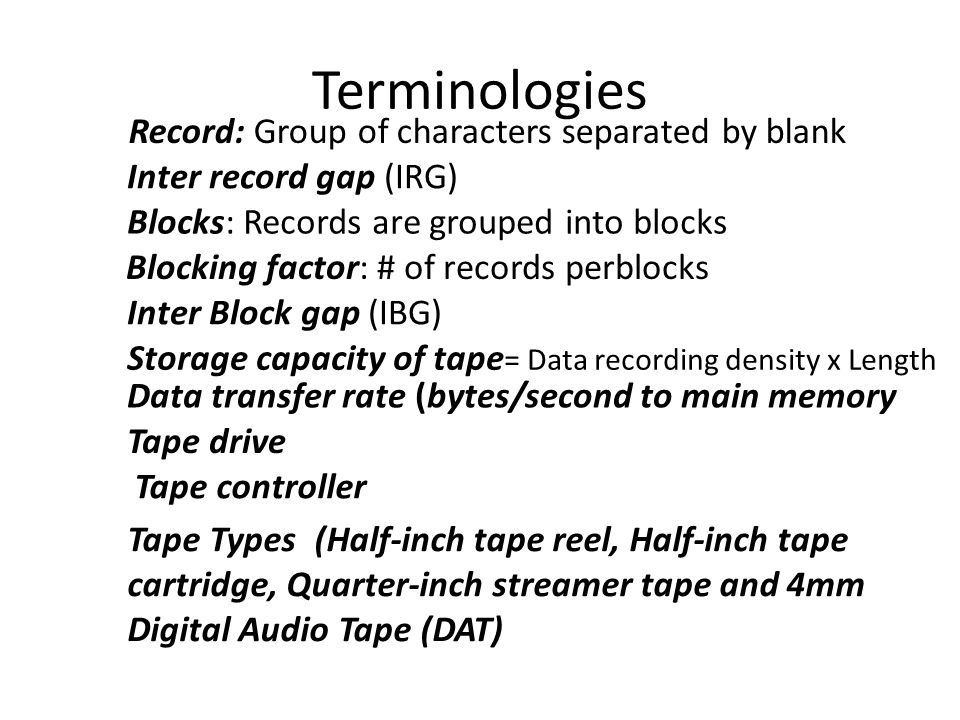 Terminologies Record: Group of characters separated by blank