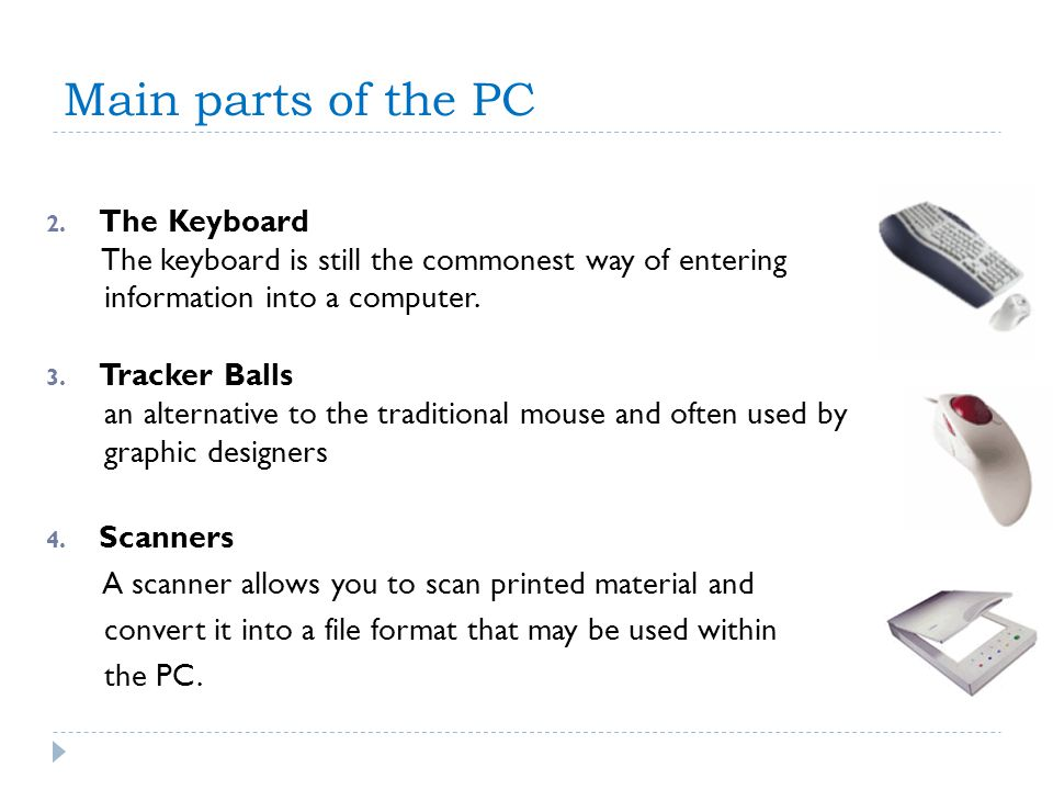 Main parts of the PC The Keyboard
