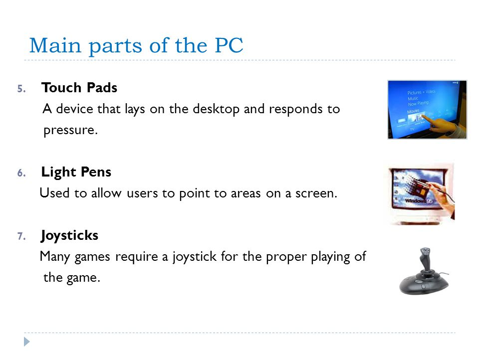 Main parts of the PC Touch Pads
