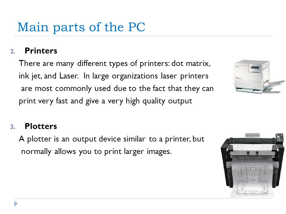 Main parts of the PC Printers